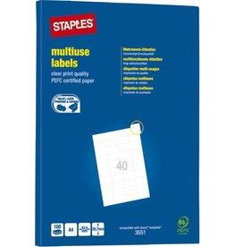 STAPLES Etikett, I/L/K, A4-Bg., sk, Pap., 52,5x29,7mm, weiß