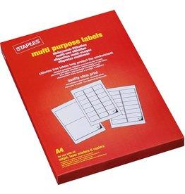 STAPLES Etikett, I/L/K, A4-Bg., sk, Pap., 64,6x33,8mm, weiß