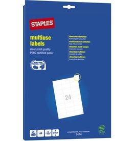 STAPLES Etikett, I/L/K, A4-Bg., sk, Pap., 70x37mm, weiß