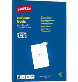 STAPLES Etikett, I/L/K, A4-Bg., sk, Pap., 70x41mm, weiß