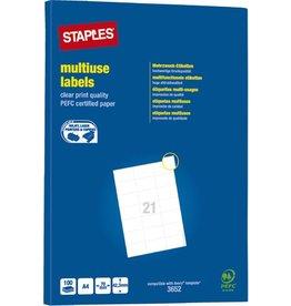 STAPLES Etikett, I/L/K, A4-Bg., sk, Pap., 70x42,3mm, weiß