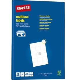 STAPLES Etikett, I/L/K, A4-Bg., sk, Pap., abger.Ecken, 63,5x46,6mm, weiß