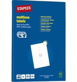 STAPLES Etikett, I/L/K, A4-Bg., sk, Pap., abger.Ecken, 99,1x33,9mm, weiß