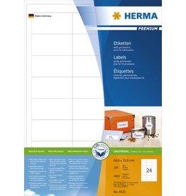 HERMA Etikett, I/L/K, sk, 64,6 x 33,8 mm, weiß