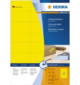 HERMA Etikett, I/L/K, sk, 70 x 37 mm, gelb