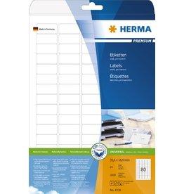 HERMA Etikett, I/L/K, sk, abger.Ecken, 35,6 x 16,9 mm, weiß