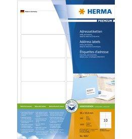 HERMA Etikett, I/L/K, sk, abger.Ecken, 96 x 50,8 mm, weiß