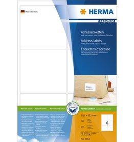HERMA Etikett, I/L/K, sk, abger.Ecken, 99,1 x 93,1 mm, weiß