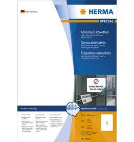 HERMA Etikett, I/L/K, sk, ablösbar, 210 x 297 mm, weiß