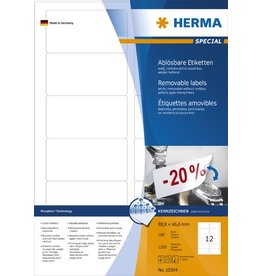HERMA Etikett, I/L/K, sk, ablösbar, abger.Ecken, 88,9 x 46,6 mm, weiß