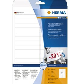 HERMA Etikett, I/L/K, sk, ablösbar, abger.Ecken, 96 x 16,9 mm, weiß