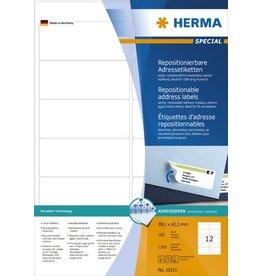 HERMA Etikett, I/L/K, sk, ablösbar, abger.Ecken, 99,1 x 42,3 mm, weiß