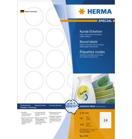 HERMA Etikett, I/L/K, sk, ablösbar, rund, Ø: 40 mm, weiß