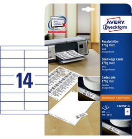 AVERY Zweckform Etikett, Regalschild, I/L/K, nicht klebend, 105 x 38 mm, weiß, matt