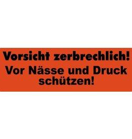 Pressel Etikett, Vorsicht zerbrechlich!, sk, Papier, 150 x 50 mm, orange