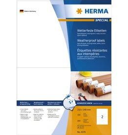 HERMA Etikett, wetterfest, L/K, sk, Spezialpapier, 210 x 148 mm, weiß