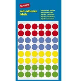STAPLES Markierungspunkt, auf Bogen, sk, Papier, Ø: 12 mm, 4farbig sortiert