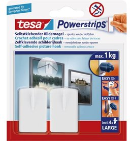 tesa Klebehaken Powerstrips® LARGE, sk, abl., weiß, 2 Nägel / 4 Strips