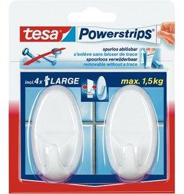 tesa Klebehaken Powerstrips® LARGE, sk, weiß, 2 Haken / 4 Strips