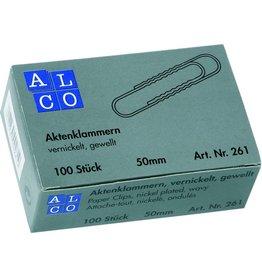 ALCO Aktenklammer, rund, gewellt, Metall, verzinkt, L: 50 mm, silber