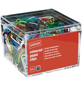 STAPLES Büroklammer Color, Metall, kunststoffummantelt, L: 26 mm, sortiert