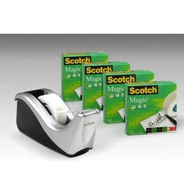 Scotch Tischabroller C60, si/sw, mit 4 Rollen Scotch® Magic™Tape 810