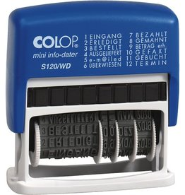 COLOP Wortbandstempel mini info-dater S120/WD, 12 Texte, Druckf.: blau/rot