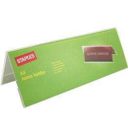 STAPLES Namensschild, Dachform, Kunststoff, 297 x 111/96 mm, glasklar