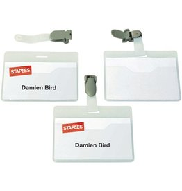 STAPLES Namensschild, mit: Clip, Kst., 90x60mm, fl