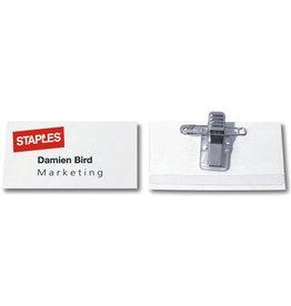 STAPLES Namensschild, mit: Kombiklemme, Kunststoff, 75 x 40 mm, farblos