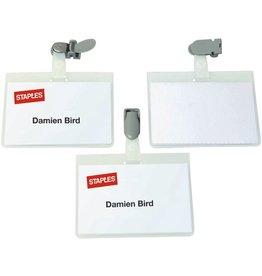 STAPLES Namensschild, oben geschlossen, mit: Clip, 90x60mm, transparent
