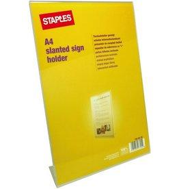STAPLES Tischaufsteller, L-Form, für Innenbereich, A4, farblos, glasklar
