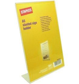 STAPLES Tischaufsteller, L-Form, für Innenbereich, A5, farblos, glasklar