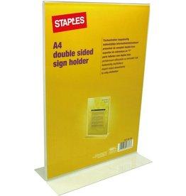 STAPLES Tischaufsteller, T-Form, für Innenbereich, A4, farblos, glasklar