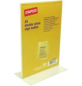 STAPLES Tischaufsteller, T-Form, für Innenbereich, A5, farblos, glasklar