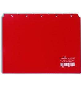 DURABLE Leitregister, Kunststoff, A - Z, A5 quer, 25 Blatt, rot