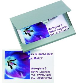 sigel Visitenkartenbox, für: 15 Karten, Kartengröße: 90x55mm, silb, matt