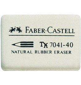 FABER-CASTELL Radierer, 7041-40, rechte., Naturkautsch., 34x26x8mm, weiß