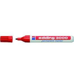 edding Permanentmarker, 3000, Rundspitze, 1,5-3 mm, Schreibf.: rot