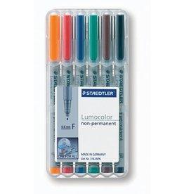 STAEDTLER OH-Stift, Lumocolor® 316, F, non-perm., 0,6 mm, Schreibf.: 6er so