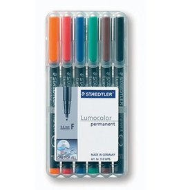 STAEDTLER OH-Stift, Lumocolor® 318, F, perm., 0,6 mm, Schreibf.: 6er so