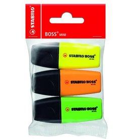 STABILO Textmarker BOSS® MINI, Ksp., 2 - 5 mm, Schreibf.: 3er sortiert