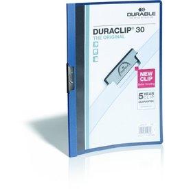 DURABLE Klemmmappe DURACLIP®, Hartfolie, A4, für: 30 Blatt, dunkelblau