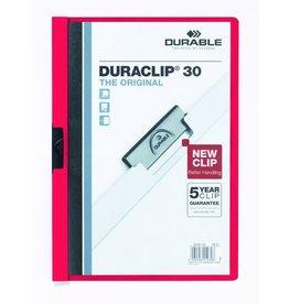 DURABLE Klemmmappe DURACLIP®, Hartfolie, A4, für: 30 Blatt, rot