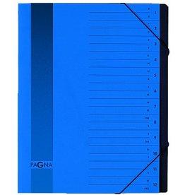 PAGNA Ordnungsmappe, Pressspan, Eckspanngummi, A4, 12 Fächer, blau