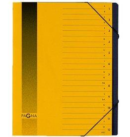 PAGNA Ordnungsmappe, Pressspan, Eckspanngummi, A4, 12 Fächer, gelb