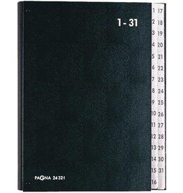PAGNA Pultordner, Hartpappe, 1 - 31, A4, 32 Fächer, schwarz