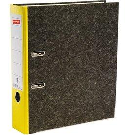 STAPLES Ordner, Wolkenmarmorpapier (RC), SK-Rückenschild, A4, 80mm, gelb