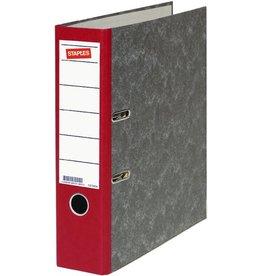 STAPLES Ordner, Wolkenmarmorpapier (RC), SK-Rückenschild, A4, 80mm, rot