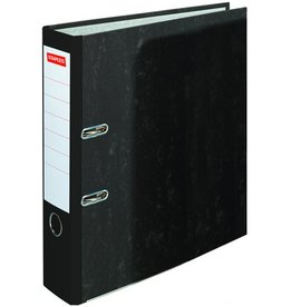STAPLES Ordner, Wolkenmarmorpapier (RC), SK-Rückenschild, A4, 80mm, schwarz